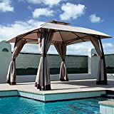 Grand patio Lawn Pop-up Patio Gazebo with Black Metal Steel Frame Outdoor Canopy 11x11 Feet(Dark Champagne)