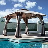 Grand patio Lawn Pop-up Patio Gazebo with Black Metal Steel Frame Outdoor Canopy 11x11 Feet(Dark Champagne)