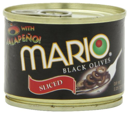 Mario Sliced Black Olives with Jalapeno, 2.25-Ounce Cans (Pack of 8)