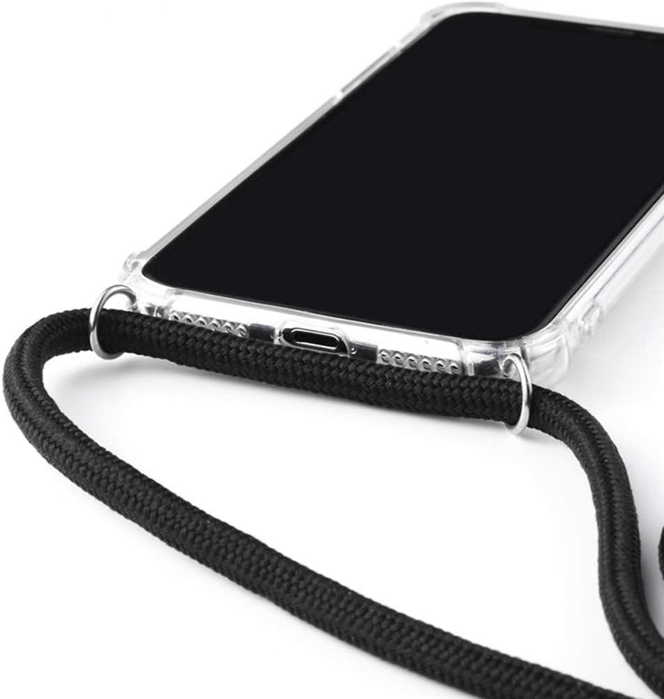2ndSpring Funda con Cuerda Compatible con Huawei P20 Pro,Carcasa TPU Suave Silicona Case con Correa Colgante Ajustable Collar Correa de Cuello Cadena Cord/ón,Plata