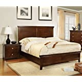 Furniture of America Pasha 3-Piece Queen Platform Bedroom Set with Two-Nightstands, Brown Cherry Finish