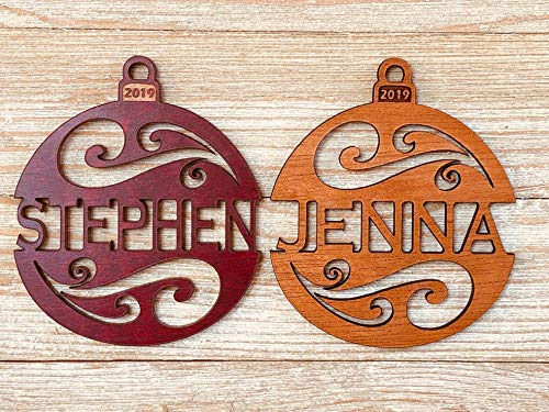 (Personalized 2019 Christmas Ornament From Solid Wood Holiday Swirl Design)