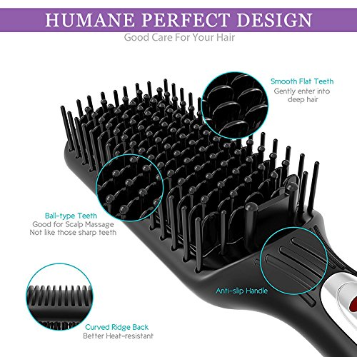 Hair Straightener Brush,2-in-1 Enhanced Ionic Straightening Brush With Anti-Scald Feature,Auto Temperature Lock And Auto-off Function Black
