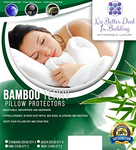 2 Pack Bamboo Terry Premium Pillow Protectors, 100% Waterpoo