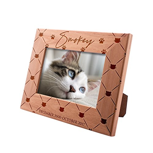 Personalized Picture Frame 4x6 Pet Memorial for Cats, Lovely Cat, Custom Engraved with Dog's Name & Years - Cat Owner Gift - Lab Photo Frame