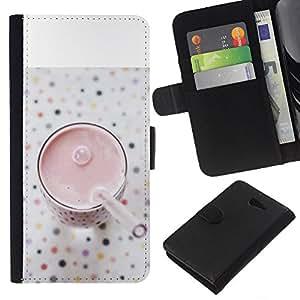 KingStore / Leather Etui en cuir / Sony Xperia M2 / Saludable Smoothie Fresa;