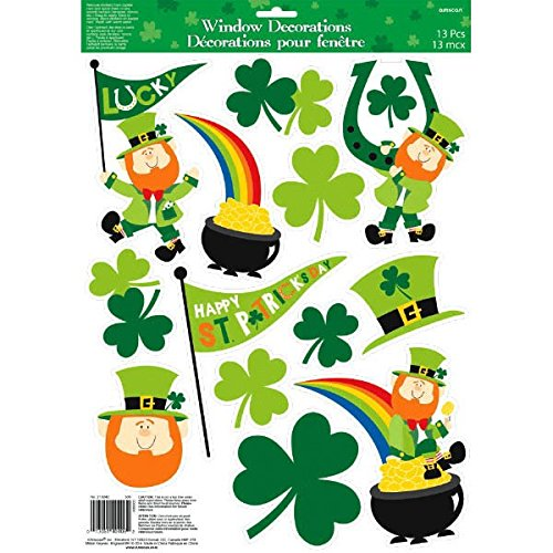 Amscan St. Patrick's Day Leprechauns & Pots of Gold Vinyl Window Decoration, Green, 17