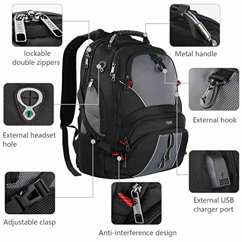 Travel Laptop Backpack, Large Computer Backpack Bag Fits 17 inch Laptop for Men Women for Hiking/School / College, Black TSA Smart Scan Bookbag with 9 Compartments Made of Water-Resistant Fabric by Ytonet (Image #7)