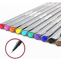 Hip Mall Pluma de Color Fineliner, Coloreada, Fina línea de Dibujo, boceto, boceto, Colores Surtidos, 10 Unidades