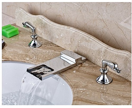 Gowe Deck Mounted Bathroom Sink Faucet Double Handles Widespread 3pcs Mixer Tap Chrome Fonished 3