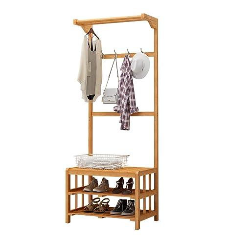 Amazon.com: YWYMJ percha de bambú para chaqueta, zapatero de ...