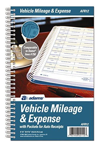 Mileage Expense Log - Adams Vehicle Mileage and Expense Journal, 5-1/4