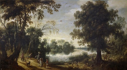 Polyster Canvas ,the Cheap But High Quality Art Decorative Art Decorative Prints On Canvas Of Oil Painting 'Vrancx Sebastian Paisaje Con Lago ', 18 X 32 Inch / 46 X 82 Cm Is Best For Kitchen Artwork And Home Gallery Art And Gifts - Teen Gothic Dolly Costumes