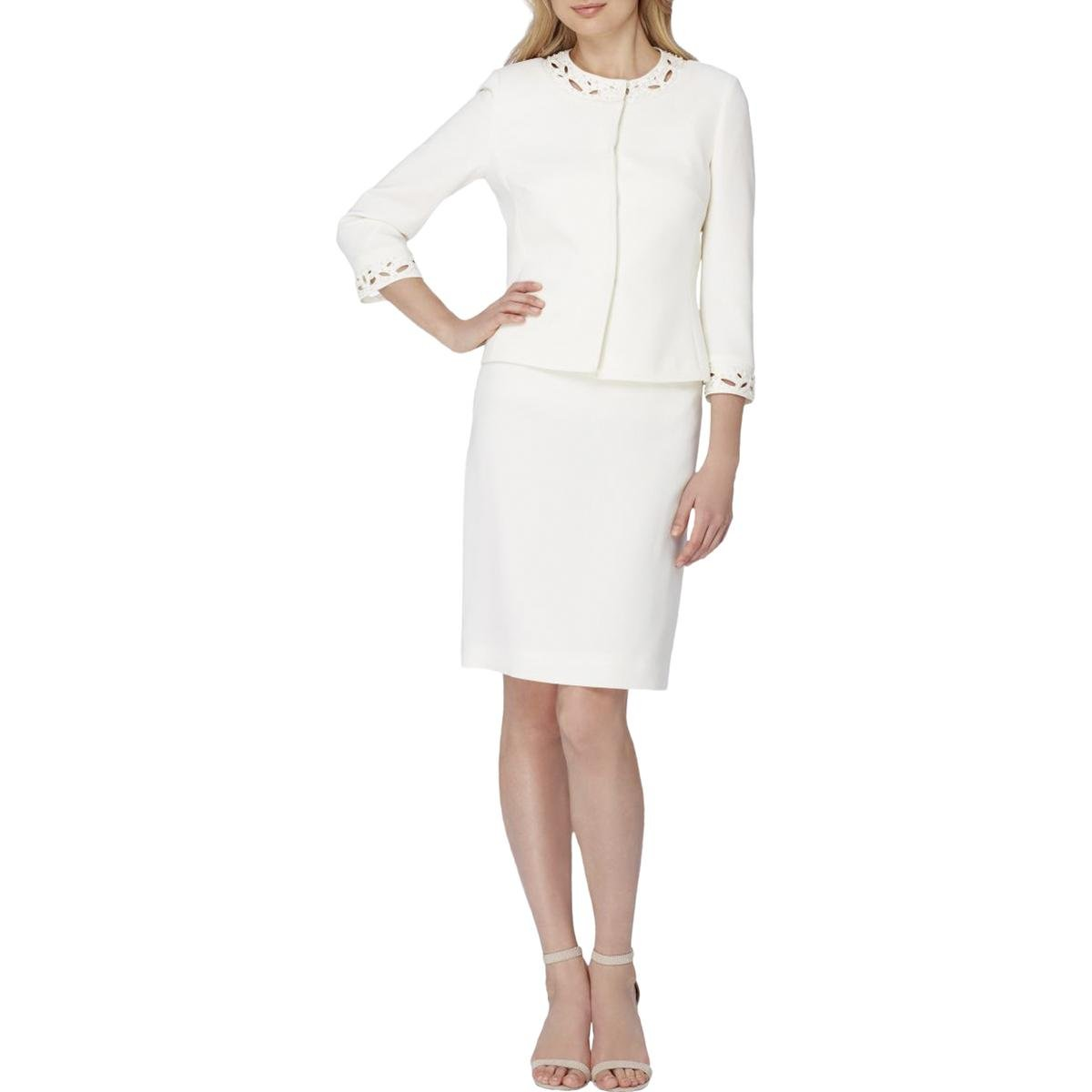 Tahari ASL Womens Plus 2PC Embellished Skirt Suit Ivory 18