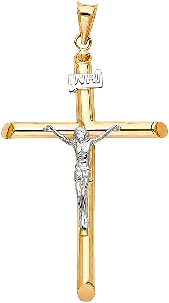 Million Charms 14K Two-Tone Gold Small//Mini Religious White Gold Small//Mini Religious Christ Crucifix 20mm x 13mm with 18 Rolo Chain