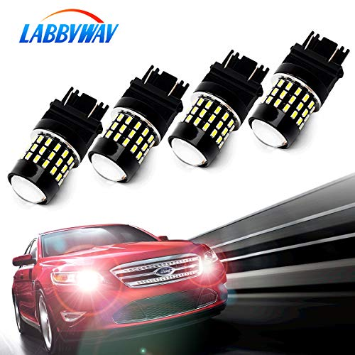 LABBYWAY Pack of 4 1000 Lumens Super Bright 3014 54-EX Chipsets 3056 3156 3057 3157 4157 LED Bulbs with Projector for Reverse Back Up Lights DRL Turn Signal Lights Tail Brake Lights, Xenon White