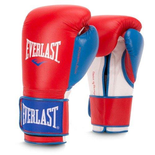 Everlast Premium Leather 16oz POWERLOCK Hook & Loop Training Gloves Red/Blue)
