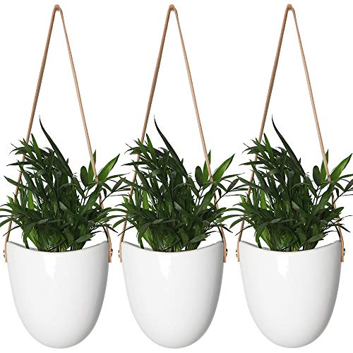(YXMYH Modern White Ceramic Hanging Planter Succulent Air Plant Flower Pot Wall Decor, Set of 3)