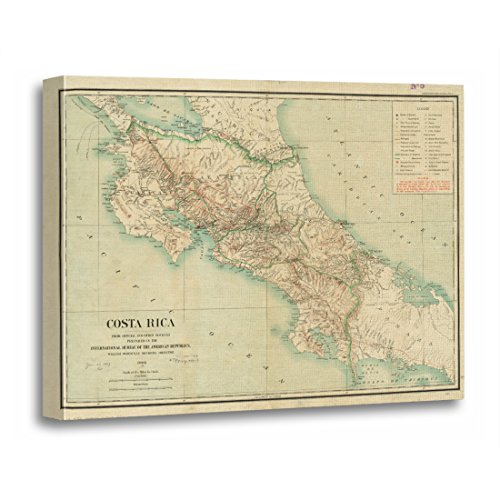 (TORASS Canvas Wall Art Print Old Vintage Map of Costa Rica Historical Artwork for Home Decor 16