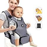 Baby Carrier with Hip seat and Baby Diaper Bag 2-in-1 by Unihope,360° Ergonomic,for All Seasons,Large Capacity,Grey