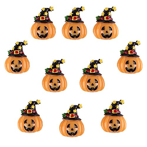 UNAKIM --10pcs Resin Halloween Pumpkin w/ Magic Star Hat Flatback Hair Bow Center Crafts