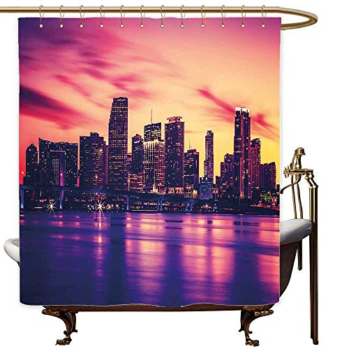 Polyester Fabric Shower Curtain United States View of Miami at Sunset Building Urban Modern City Life Ocean Skyline for Master, Kid's, Guest Bathroom W36x72L Purple Pink Peach -