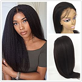 JYL Hair Italian Yaki 360 Lace Frontal Wig Pre Plucked Hairline Bleached Knots 150% Density Lace Front Human Hair Wigs 360 Lace Front Wigs Human Hair with Baby Hair