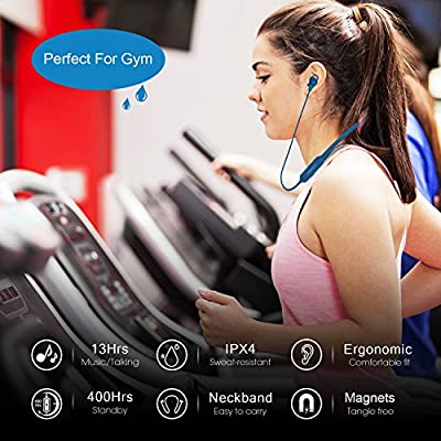 Linner Active Noise Cancelling Bluetooth Headphones 4.1 Wireless Sports Earphones - HD Stereo, IPX4 Sweat proof, 13 Hours Playtime, Neckband Magnetic Headset with Mic for Gym Jogging & Workdays -Blue
