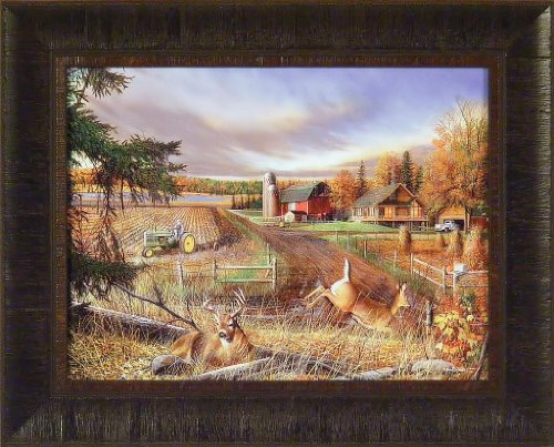 Dream Farm by Kevin Daniel 17x21 John Deere Tractor Deer Barn Framed Art Print Wall Décor Picture ()