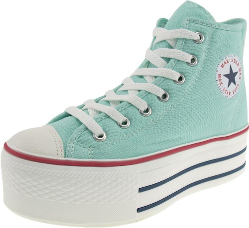 Maxstar Women's C50 7 Holes Zipper Platform Canvas High Top Sneakers Mint 9.5 B(M) US