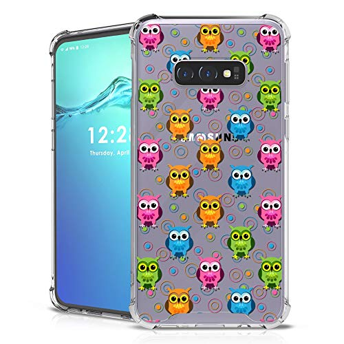 Tri Color Owl - BG Ultra-Lightweight Hybrid Snap-on Case w/Air-Pocket Corners Back Cover for Samsung Galaxy S10e - Tri-Color Owls