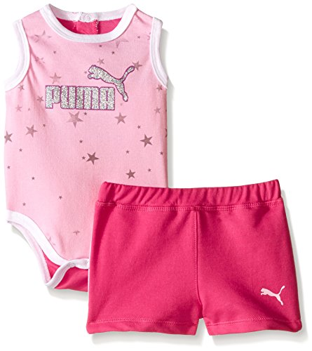 (PUMA Baby Girls Star Bodysuit and Short Set, Pink Glow, 3/6M)