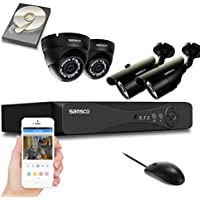 SANSCO Security Camera System with 8-Channel 1080N DVR, 2 Bullet Cameras and 2 Dome Cameras (All HD 720p 1MP), and 1TB Internal Hard Drive Disk - All-in-One Surveillance Cameras Kit