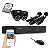 SANSCO CCTV Security Camera System with 8-Channel 1080N Smart DVR, 2 Bullet Cameras 2 Dome Cameras (All HD 720p 1MP), 1TB Internal Hard Drive Disk - All-in-One EXPANDABLE Wired Surveillance Kit