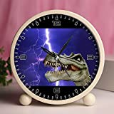 GIRLSIGHT Alarm Clock, Bedroom Tabletop Retro Portable Clocks with Nightlight Custom designs Dinosaurs 821_Dinosaur, Dino, Giant Lizard, Prehistoric Times, T Rex