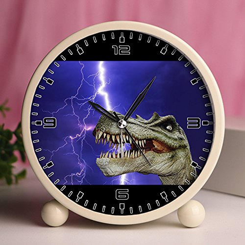 - GIRLSIGHT Alarm Clock, Bedroom Tabletop Retro Portable Clocks with Nightlight Custom Designs Dinosaurs 821_Dinosaur, Dino, Giant Lizard, Prehistoric Times, T Rex