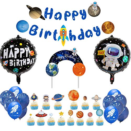 Space party supplies,Solar System Hanging Decoration,Universe Space Happy Birthday Banner and cake topper Outer Space party supplies for Kids