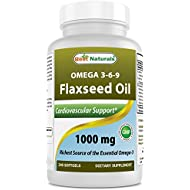 Best Naturals Flaxseed Oil 1000 mg 240 Softgels - Omega-3-6-9 for Heart Health