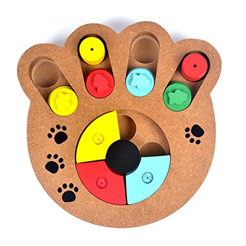 1 PC Pet Dog Game Training Wooden IQ Interactive Toy Food Dispensing Puzzle Hide&Seek (A) Review