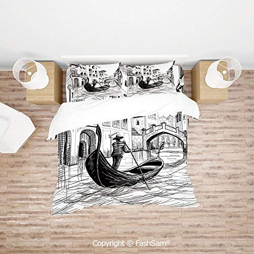 FashSam Duvet Cover 4 Pcs Comforter Cover Set Gondola in Venice European Famous Canal History Mediterranean Holiday Image for Boys Grils Kids(Single)