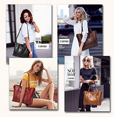 FADPRO Women Large Retro Tote Bags Top Handle Satchel Faux Leather Handbags Pouch Set 2pcs