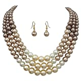 Gypsy Jewels 3 Row Layered Imitation Pearl Beaded Necklace And Earrings Set (Brown to Ivory Ombre)
