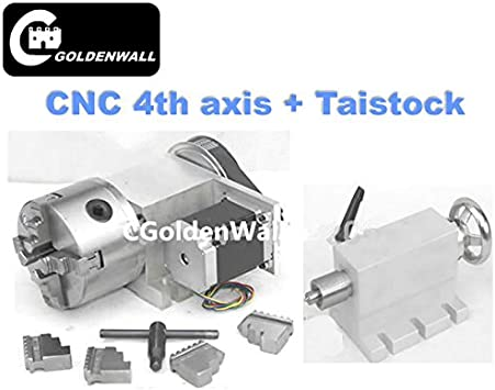 Hollow Shaft 4th Axis 4 Jaw Φ100mm Chuck CNC Engraving Machine Router+Tailstock