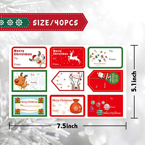 Koogel 334 Pcs Christmas Present Labels, 40 Sheets Self Adhesive Christmas Gift Tags Present Tags Sticker for Bookmarks Scrapbooks Gift Paper Wrappers Christmas Gift