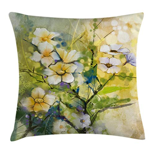 (Ambesonne Watercolor Flower Home Decor Throw Pillow Cushion Cover by, Doodle Aquarelle Japanese Cherry Blossom Sakura Art, Decorative Square Accent Pillow Case, 16 X 16 Inches, Light Green Yellow)