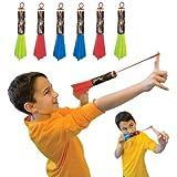 Pump Rocket Finger Flingers 3-Pack, Includes Total of 6 Rubberband Flying Foam Rockets