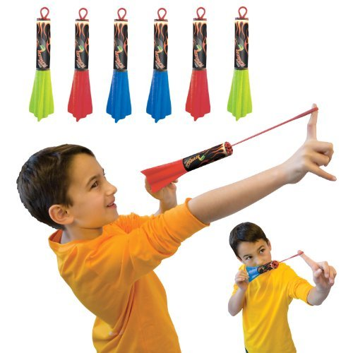 Pump Rocket Finger Flingers 3-Pack, Includes Total of 6 Rubberband Flying Foam Rockets -