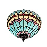 12-Inch European Pastoral Style Stained Glass Mediterranean Series Feather Tiffany Ceiling Lamp