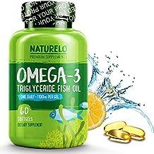 NATURELO Premium Omega-3 Fish Oil - 1100 mg Triglyceride Omega 3 - High Strength Burpless DHA EPA Supplement - Best for Brain Heart Joint Health - 60 Softgels | 2 Month Supply