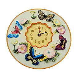 "Butterfly Clock, 8"" Round, 3D Polystone - Butterflies Wall Decor For Kitchen, Nursery, Bedroom, Patio, Bathroom, Office Butterfly Decoration - Best Butterflies Gift Idea, Butterflies Decoration, Home Decor."